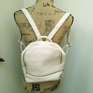 Vegan Leather Cream Backpack
